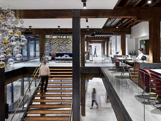 The grand central staircase at West Elm's Headquarters in DUMBO Brooklyn.