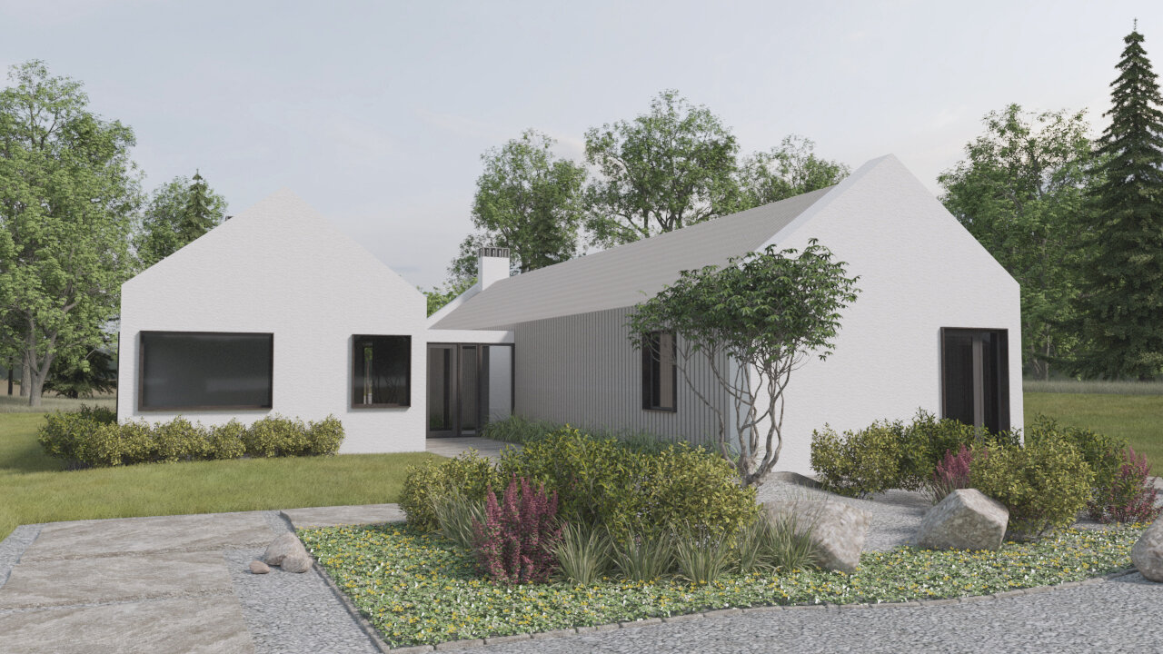 Traditional South African architectural references inform this Dutch Modern home, clad in vertical slats and stucco.